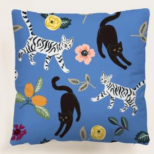 Cat Cushion Cover Blue