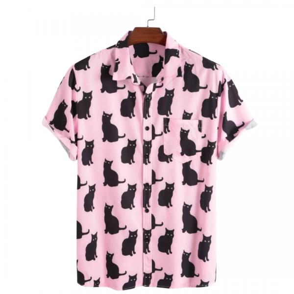 Men's Cat Button Up Shirt